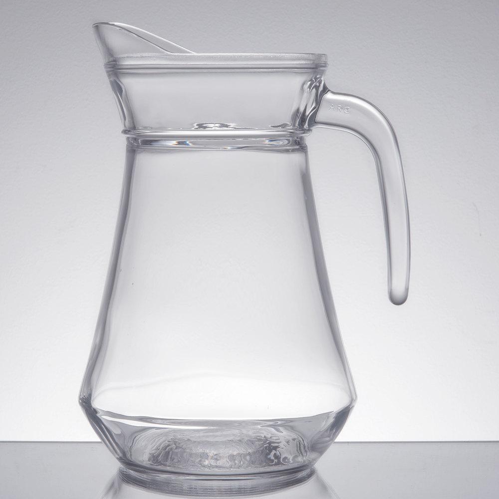 cardinal arcoroc e7255 34 oz glass pitcher with pour lip 6 case. Black Bedroom Furniture Sets. Home Design Ideas