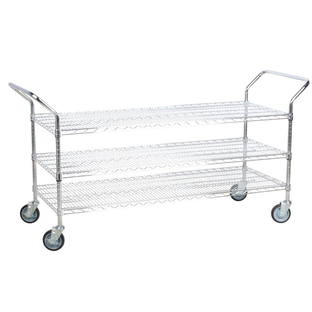 Regency 24 inch x 60 inch Three Shelf Chrome Heavy Duty Utility Cart