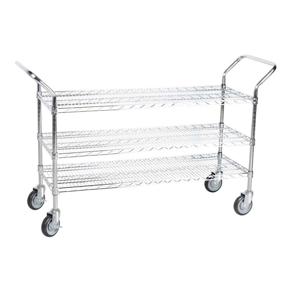 Regency 18 inch x 48 inch Three Shelf Chrome Heavy Duty Utility Cart