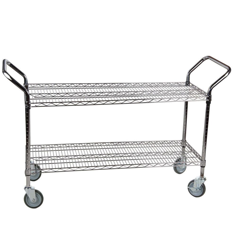 Regency 24 inch x 42 inch Two Shelf Chrome Heavy Duty Utility Cart
