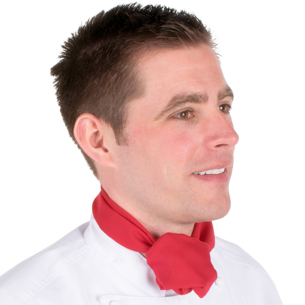 "Chef Revival H500RD 38"" x 28"" Red Poly-Cotton Neckerchief"