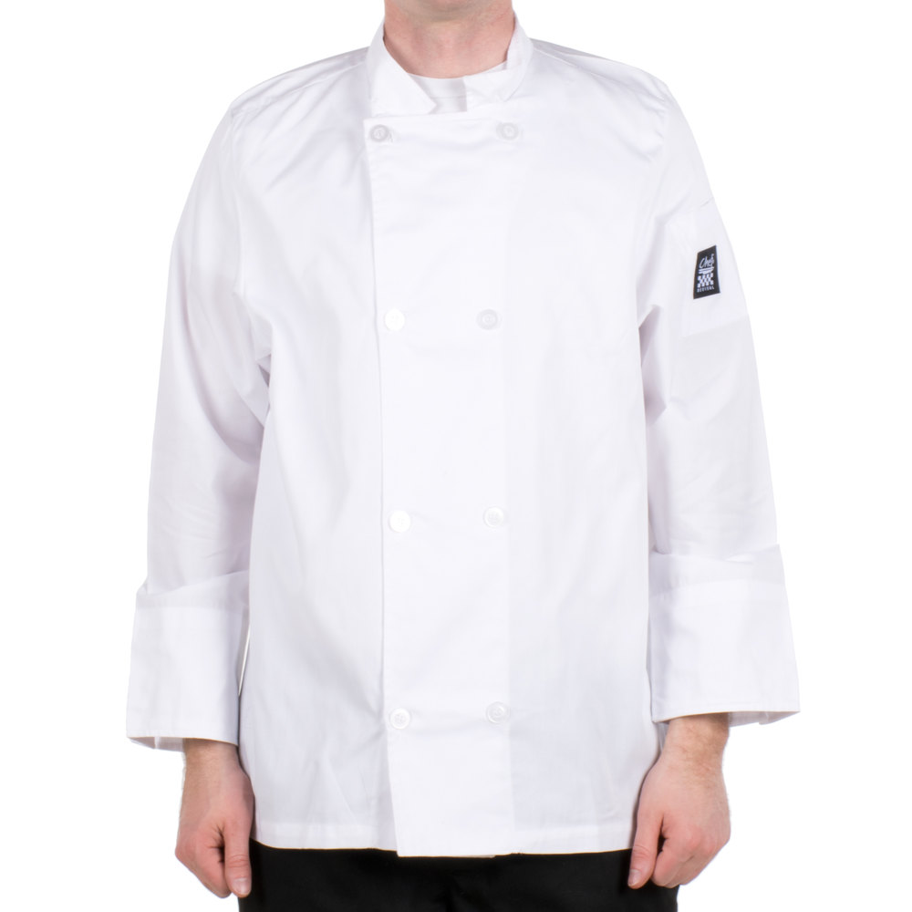 Chef Revival Bronze J049-L Cool Crew Size 46 (L) White Customizable Poly-Cotton Long Sleeve Chef Jacket