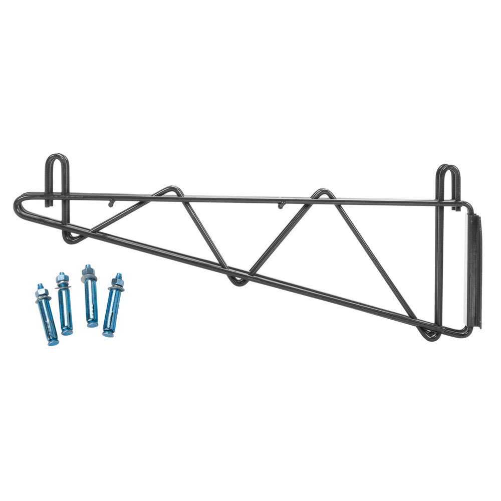 Regency 18 inch Deep Double Wall Mounting Bracket for Adjoining Black Epoxy Wire Shelving