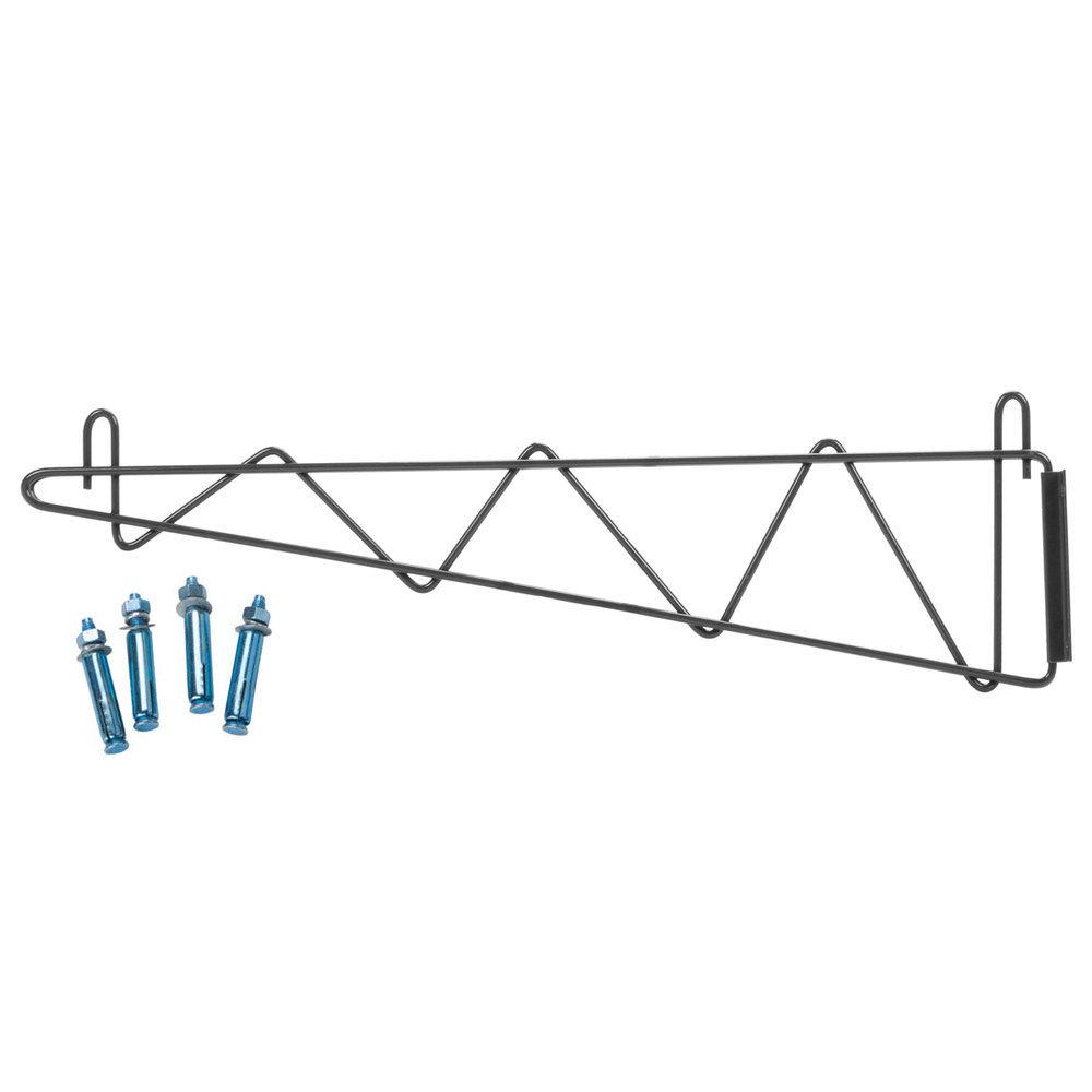 Regency 24 inch Deep Wall Mounting Bracket for Black Epoxy Wire Shelving - 2/Set