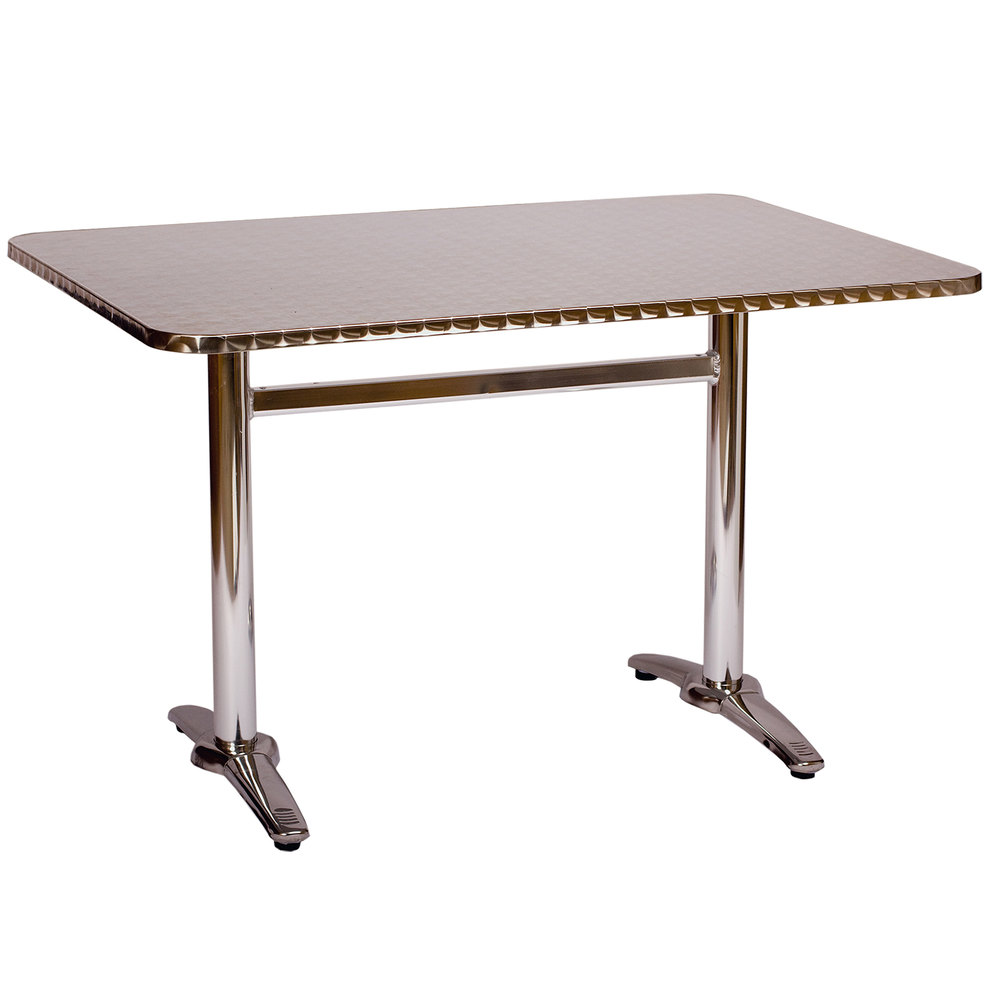 BFM Seating PHTB2232 Stiletto Standard Height Outdoor / Indoor Silver Trestle Table Base