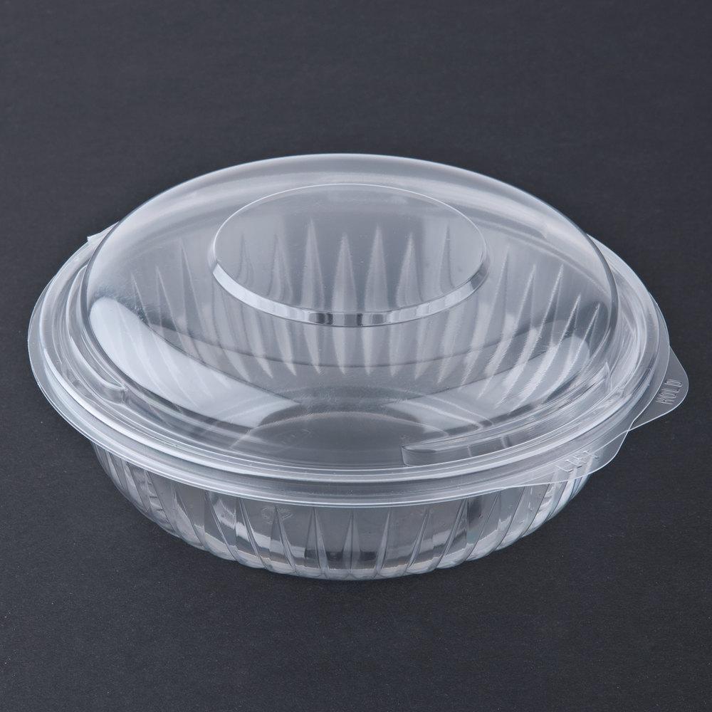 dart solo c24hbd presentabowls 24 oz clear hinged plastic bowl with dome lid 75 pack. Black Bedroom Furniture Sets. Home Design Ideas