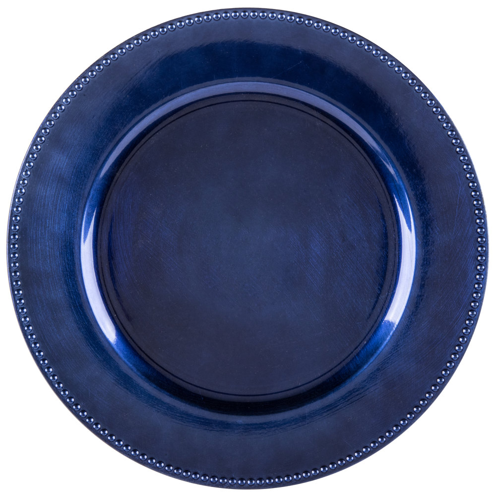 The Jay Companies 13 Quot Round Royal Blue Beaded Melamine
