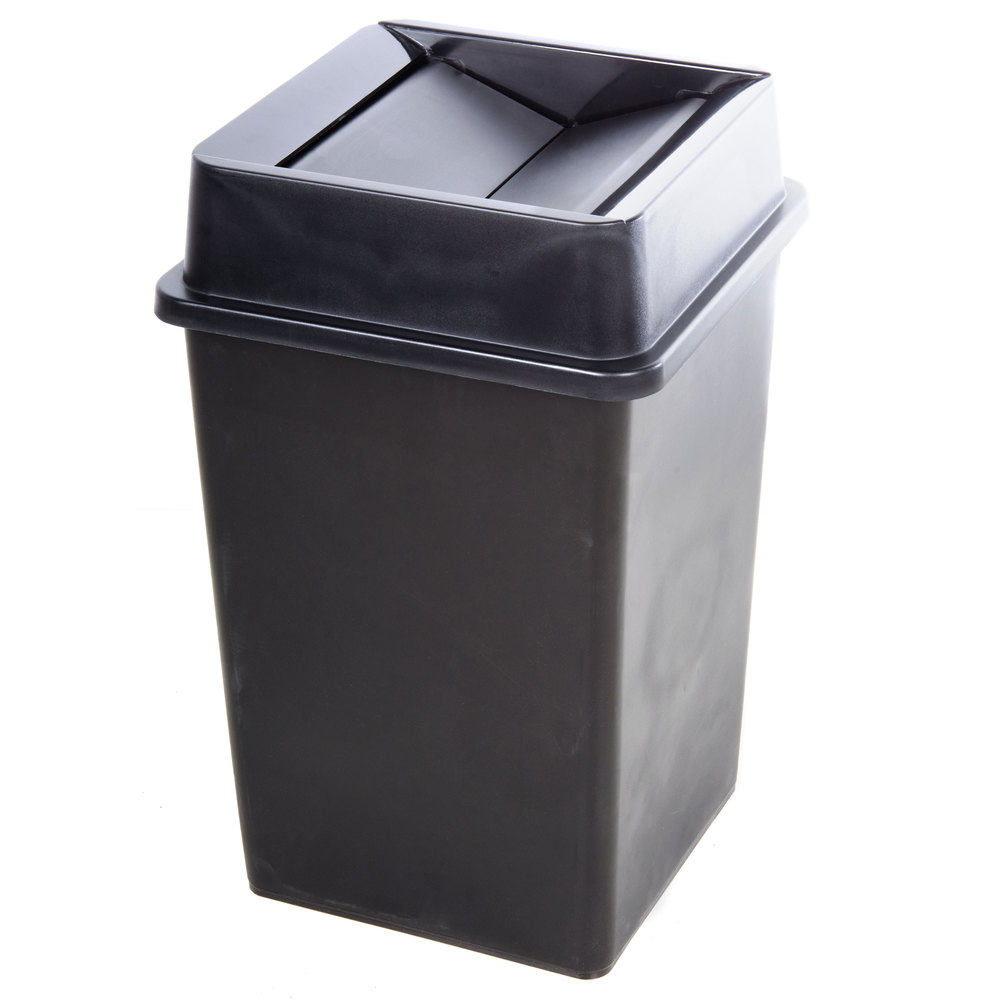 Black 35 gallon square trash can lid Large kitchen trash can with lid