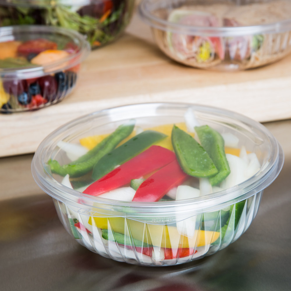 Dart Solo C32HBF PresentaBowls 32 oz. Clear Hinged Plastic Bowl with Flat Lid - 75/Pack