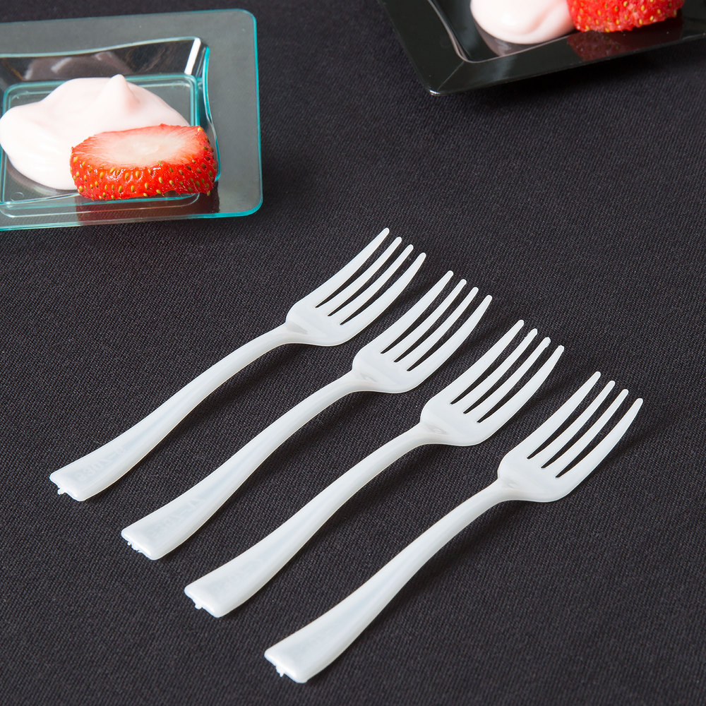 "Fineline Tiny Temptations 6500-WH 3 7/8"" Tiny Tines White Plastic Tasting Fork - 960/Case"