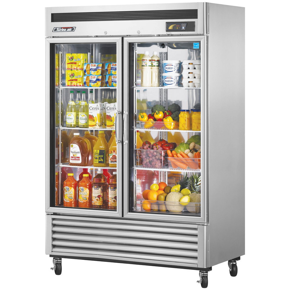 "Turbo Air MSR-49G-2 54"" Maximum Series Two Glass Door Reach In Refrigerator - 49 Cu. Ft."