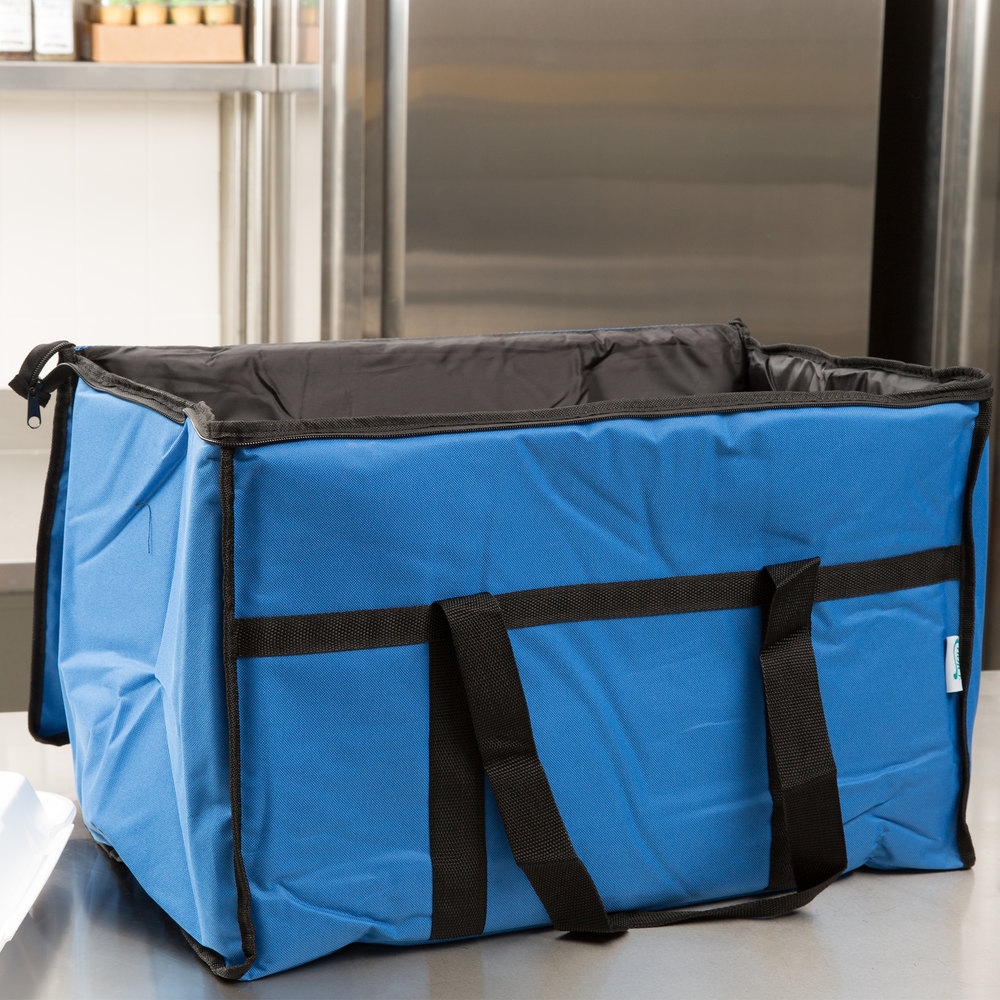 "Choice Soft Sided 23"" x 13"" x 15"" Blue Insulated Nylon Food Delivery Bag / Pan Carrier with Foam Freeze Pack Kit"