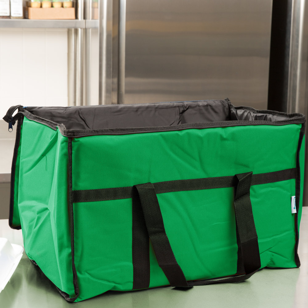 "Choice Soft Sided 23"" x 13"" x 15"" Green Insulated Nylon Food Delivery Bag / Pan Carrier with Foam Freeze Pack Kit"