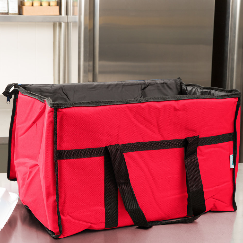 "Choice Soft Sided 23"" x 13"" x 15"" Red Insulated Nylon Food Delivery Bag / Pan Carrier with Foam Freeze Pack Kit"
