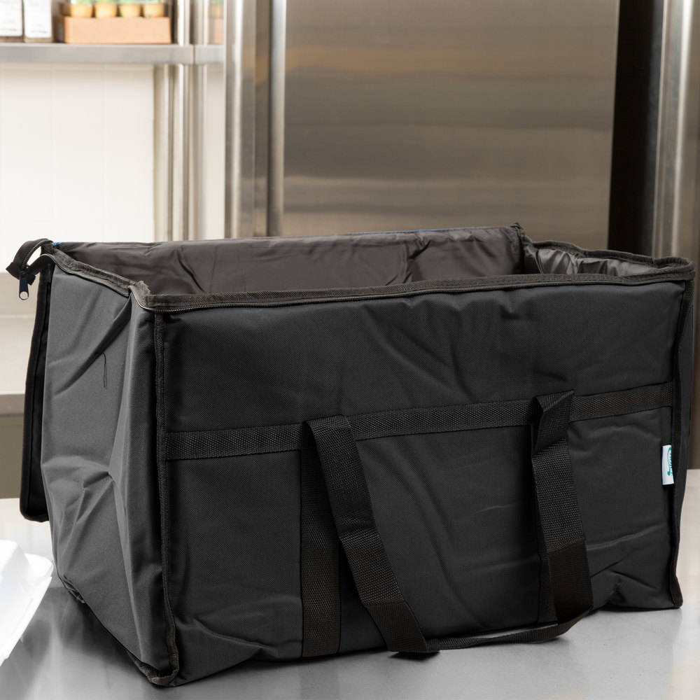 "Choice Soft Sided 23"" x 13"" x 15"" Black Insulated Nylon Food Delivery Bag / Pan Carrier with Foam Freeze Pack Kit"