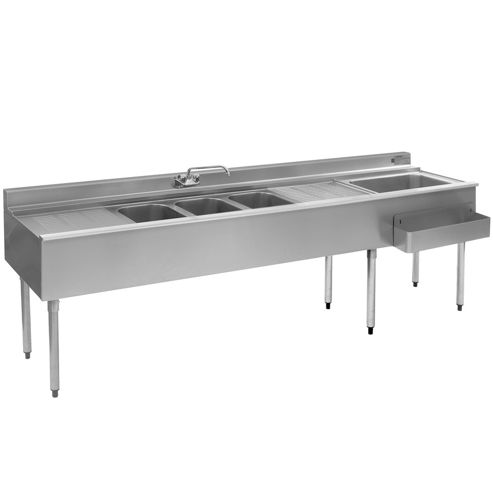Eagle Group BC8C-22R Combination Underbar Sink and Ice Bin with Three ...
