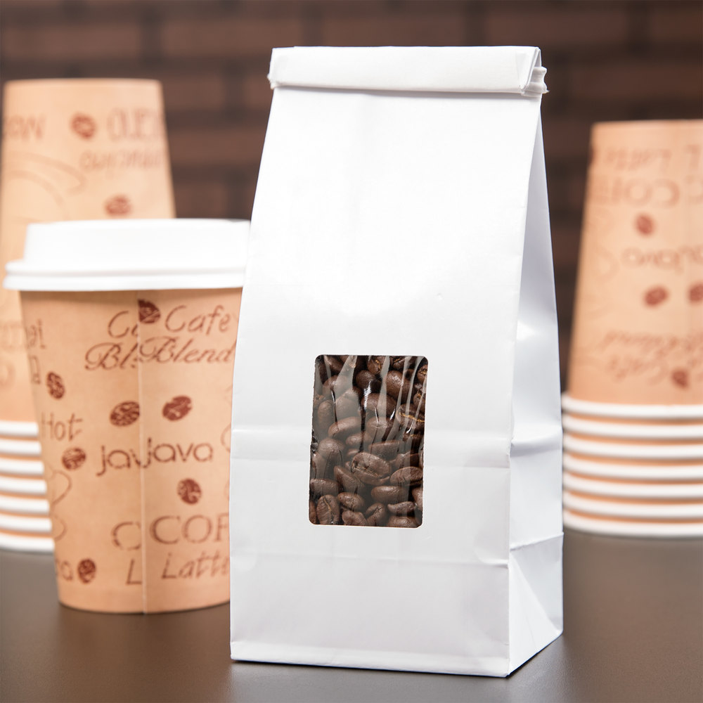 White 1/2 lb. Customizable Tin Tie Coffee Bag with Window - 1000 / Case