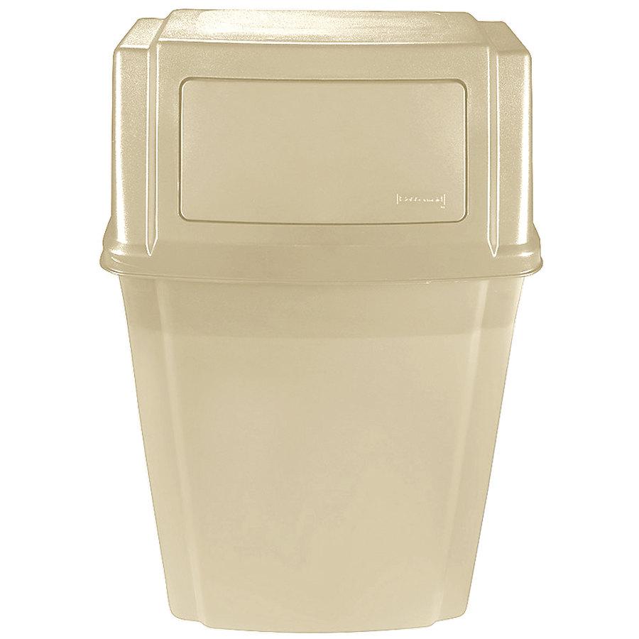 Rubbermaid fg782200beig beige 15 gallon wall mount trash for Beige bathroom bin