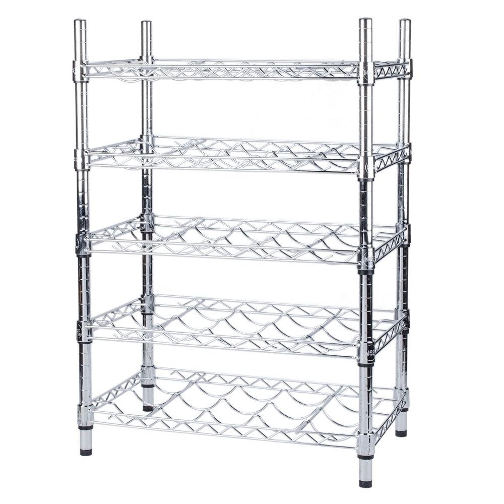Regency 14 inch x 24 inch 5 Shelf Wire Wine Rack with 34 inch Posts