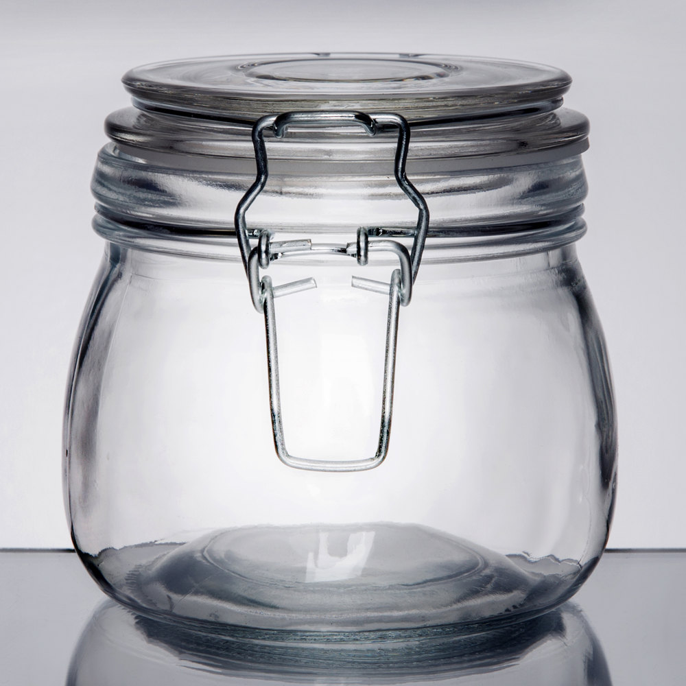 American Metalcraft Hmj4 16 Oz Glass Hinged Apothecary Jar