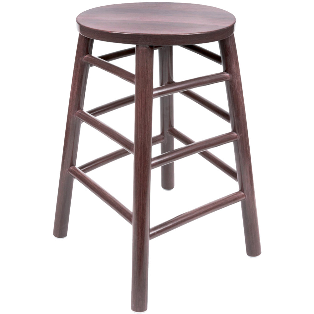 "Lancaster Table & Seating 24"" Metal Woodgrain Counter Height Stool with Wine Color Finish"