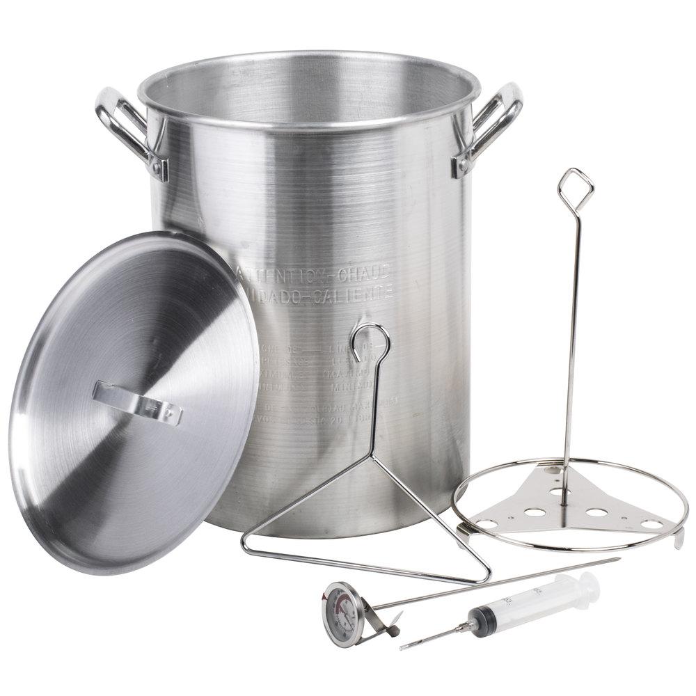 Backyard Pro 30 Qt. Aluminum Turkey Fry Pot / Stock Pot With Lid And Accessories