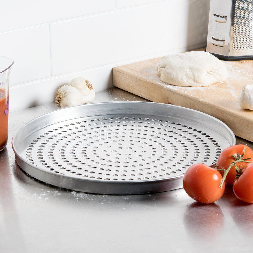 "American Metalcraft A4015SP 15"" x 1"" Super Perforated Standard Weight Aluminum Straight Sided Pizza Pan"