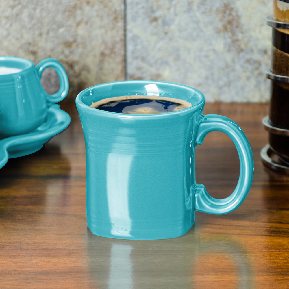 Homer Laughlin 923107 Fiesta Turquoise 13 oz. Square Mug - 12/Case