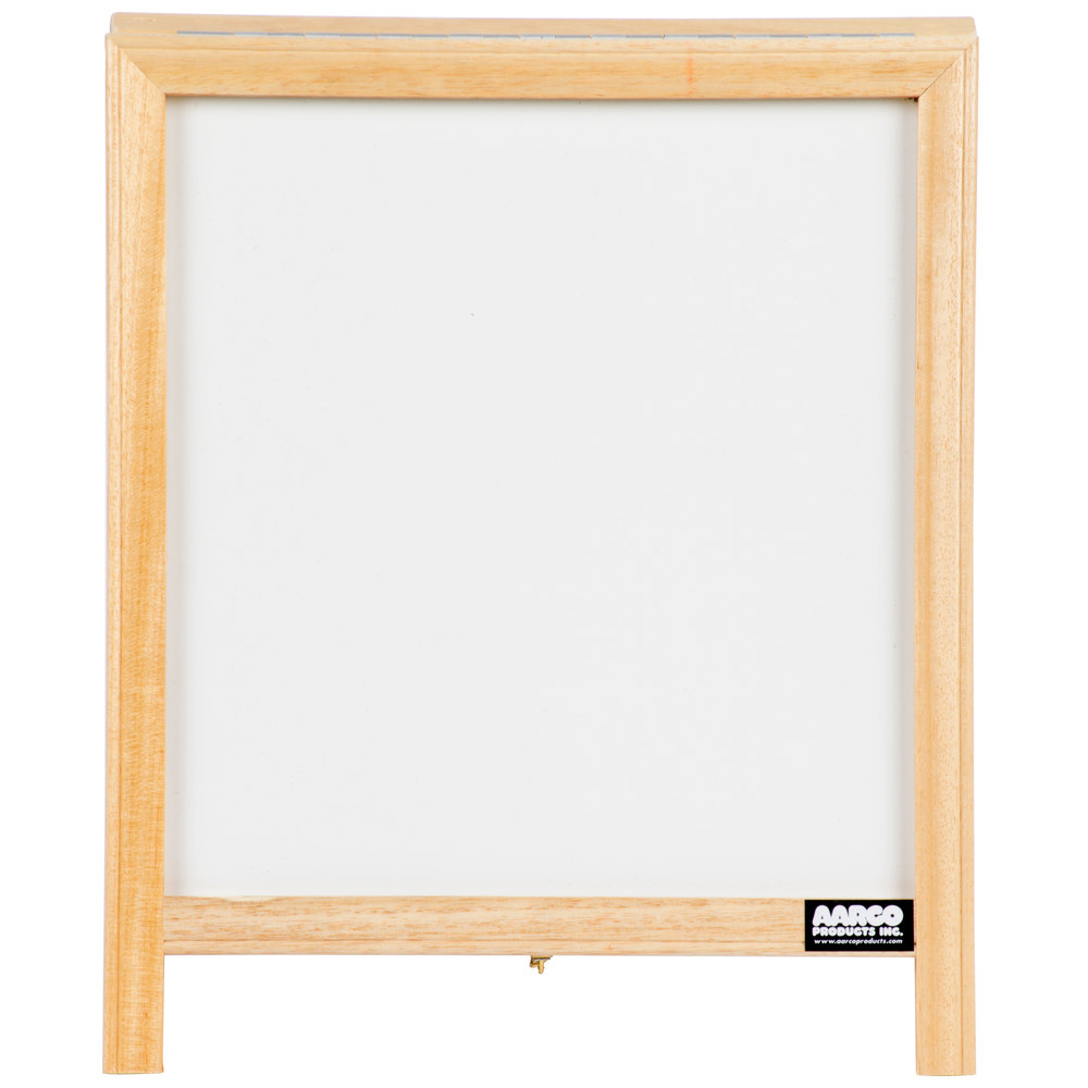 "Aarco 14"" x 12"" Tabletop A-Frame Sign with White Marker Board"