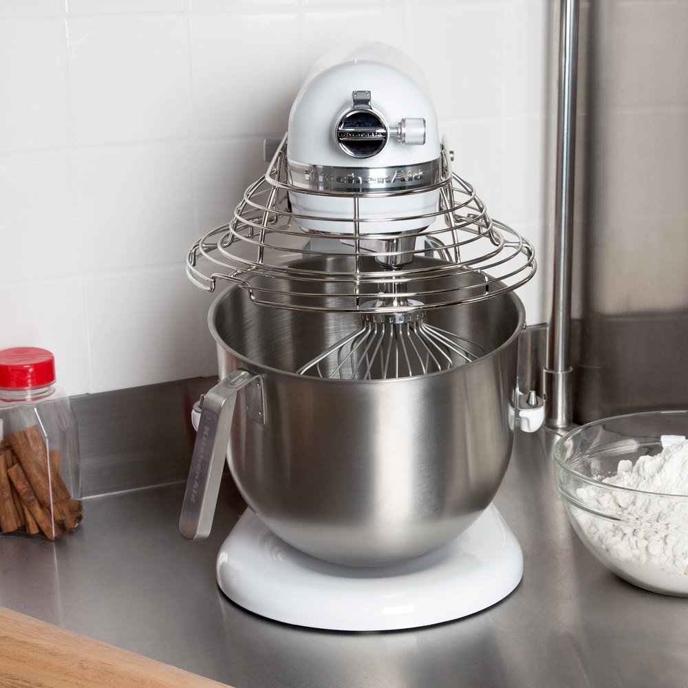 KitchenAid KSMC895WH White NSF 8 Qt. Bowl Lift Commercial Countertop Mixer with Stainless Steel Bowl Guard - 120V, 1 3/10 hp