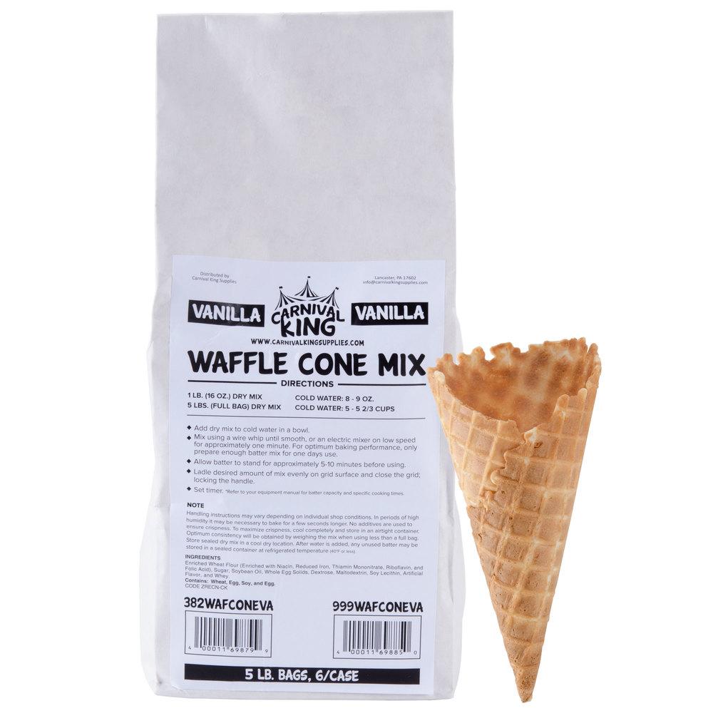 Carnival King Vanilla Waffle Cone Mix 5 lb. Bag - 6/Case