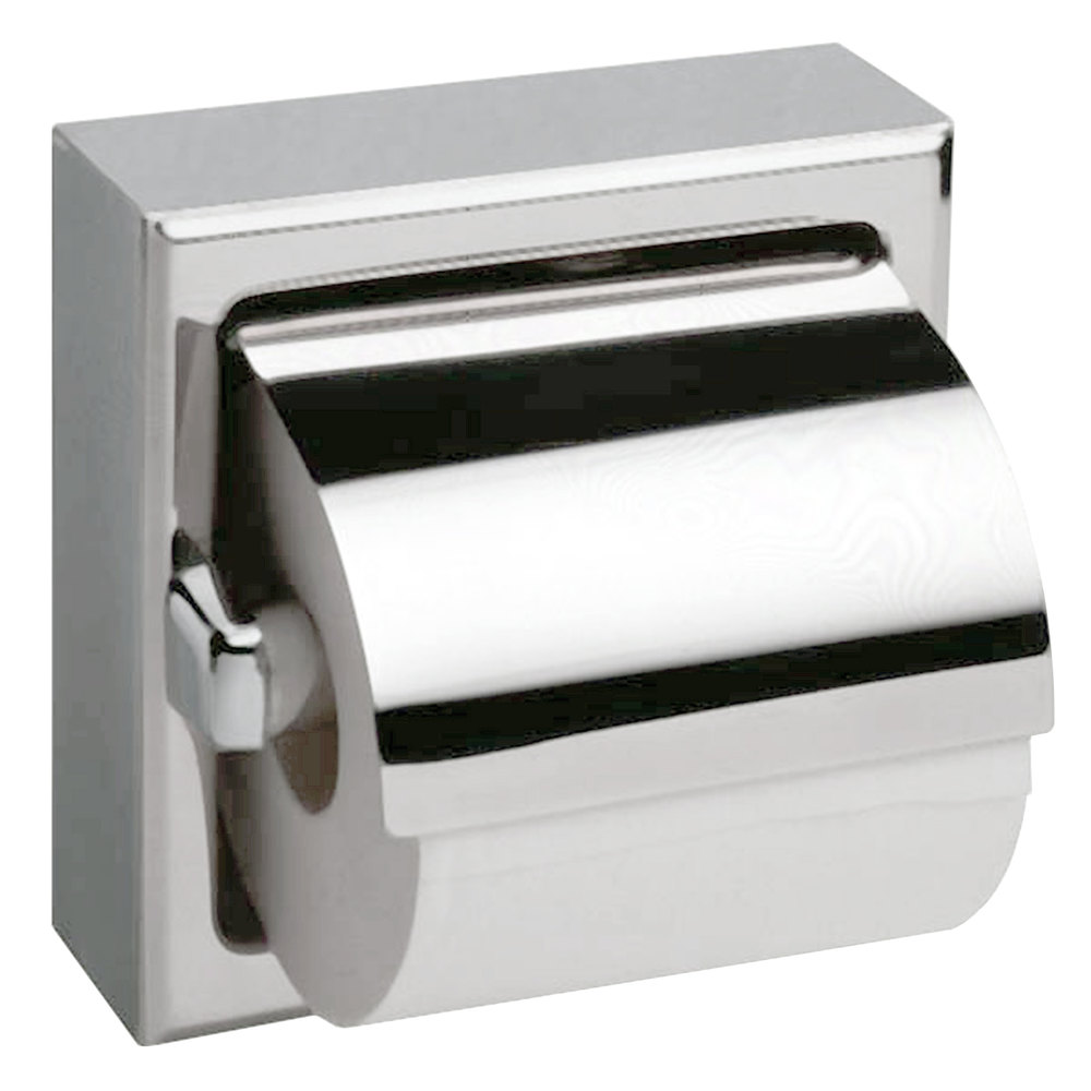 Bobrick B-6699 Surface-Mounted Toilet Tissue Dispenser with Hood and Bright Polished Finish