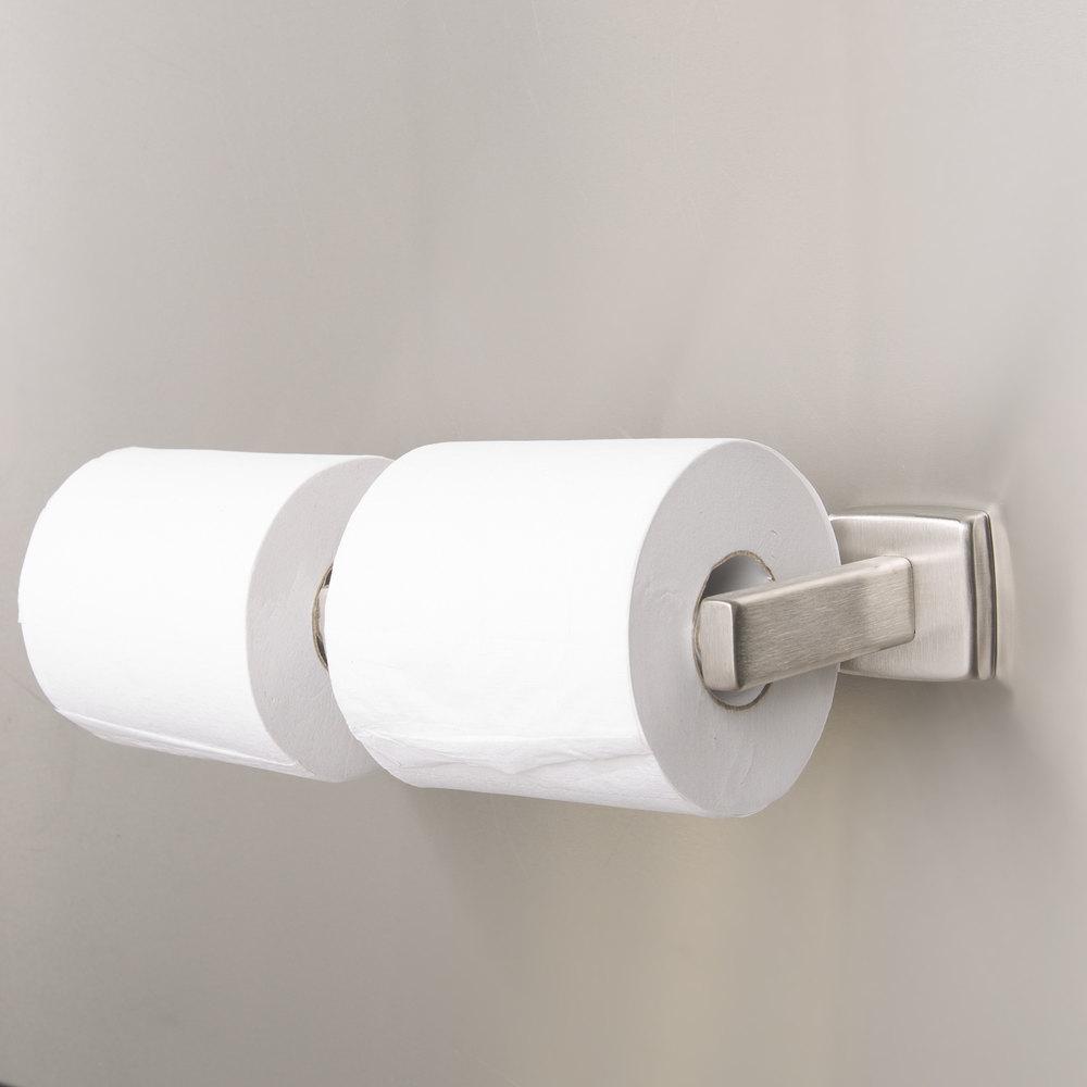 bobrick b6867 double toilet tissue dispenser with satin finish