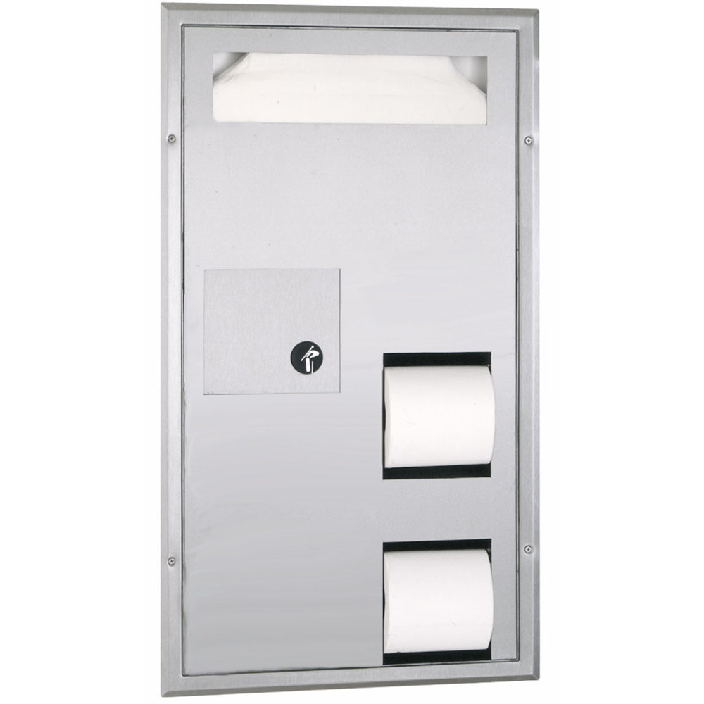 Bobrick B 35715 Partition Mounted Toilet Seat Cover And Toilet Tissue Dispenser With Sanitary
