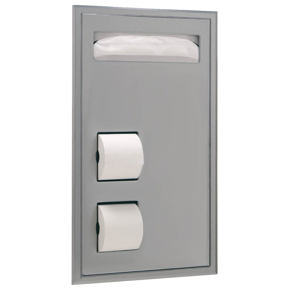 Bobrick B 34745 Recessed Toilet Seat Cover And Toilet Tissue Dispenser 17 3 16 X 3 15 16 X