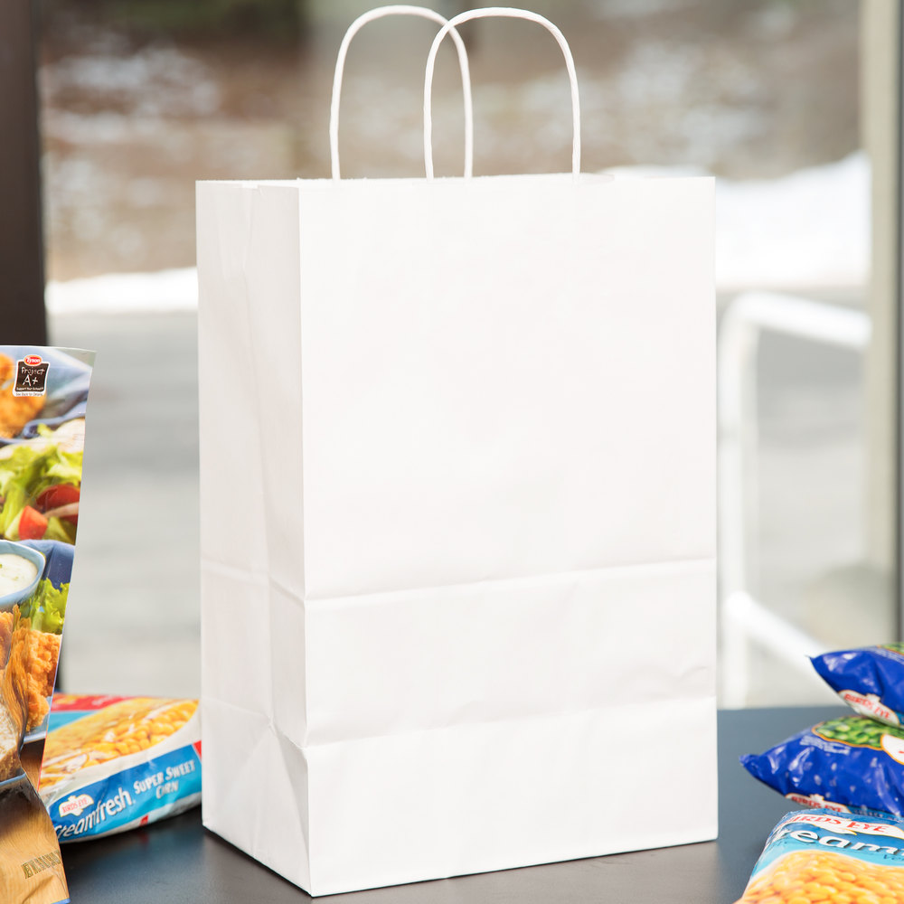 "Duro Kary 9"" x 5 3/4"" x 13 1/2"" White Shopping Bag with Handles - 250/Bundle"