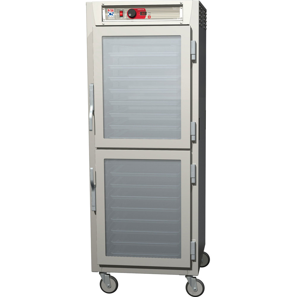 Metro C589-NDC-LPDS C5 8 Series Reach-In Pass-Through Heated Holding Cabinet - Solid Dutch / Clear Dutch Doors