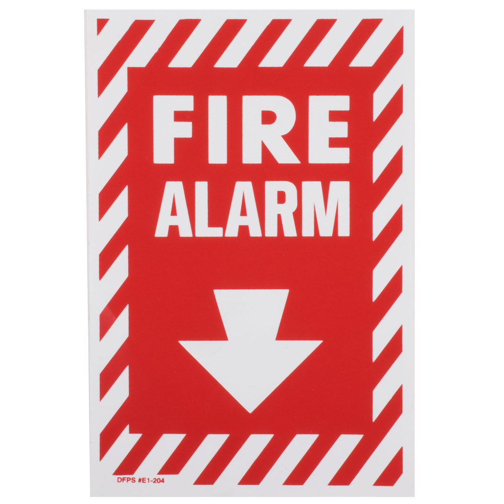 "Buckeye Fire Alarm Adhesive Label with Border - Red and White, 13"" x 8"""