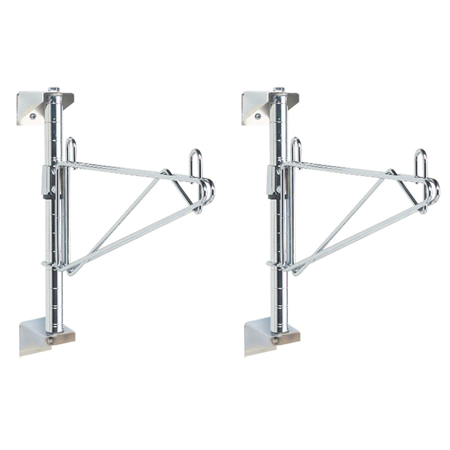 "Metro SW51C Super Erecta Chrome Single Level Post-Type Wall Mount End Unit for 24"" Deep Shelf"