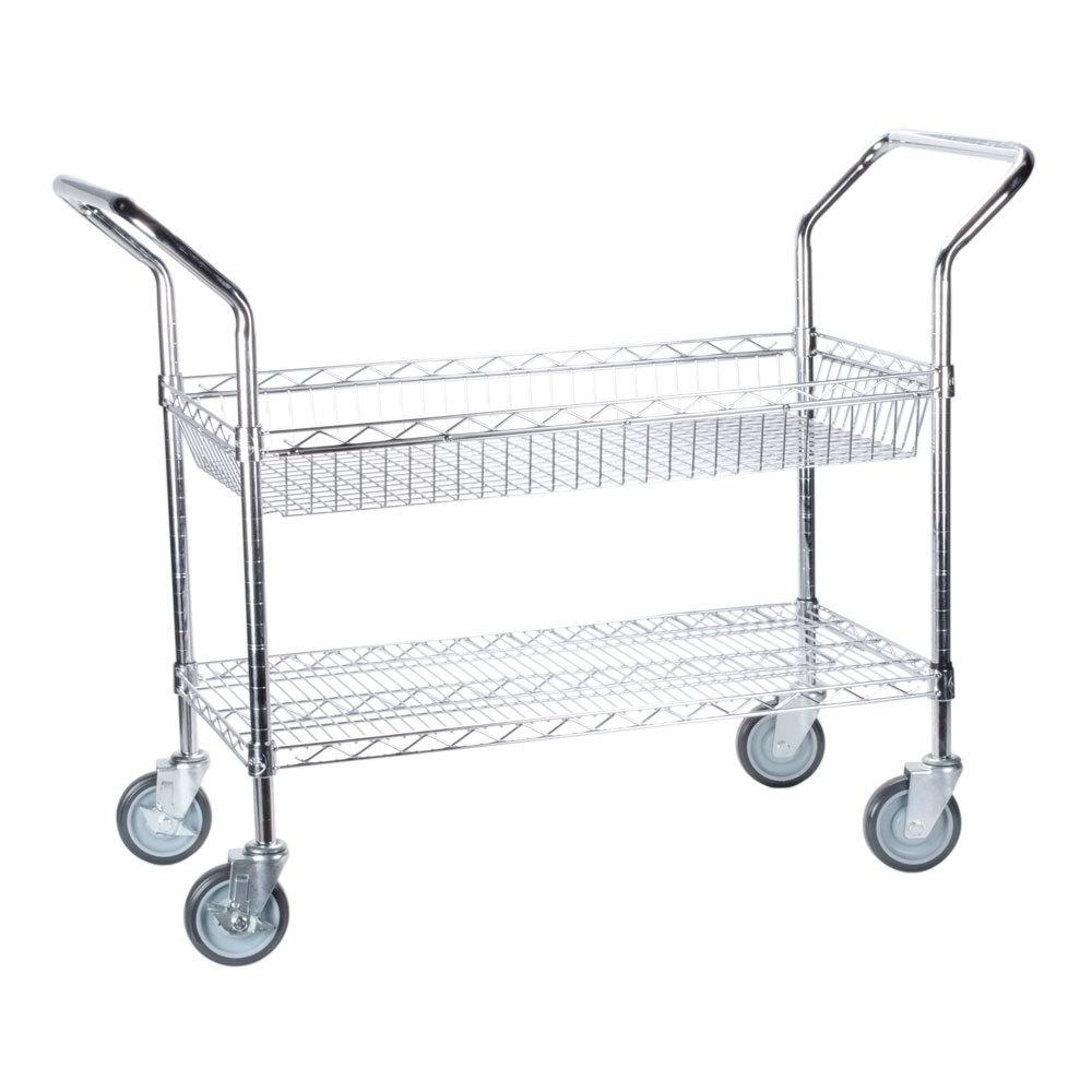 Regency Chrome 1 Shelf and 1 Basket Utility Cart - 18 inch x 36 inch