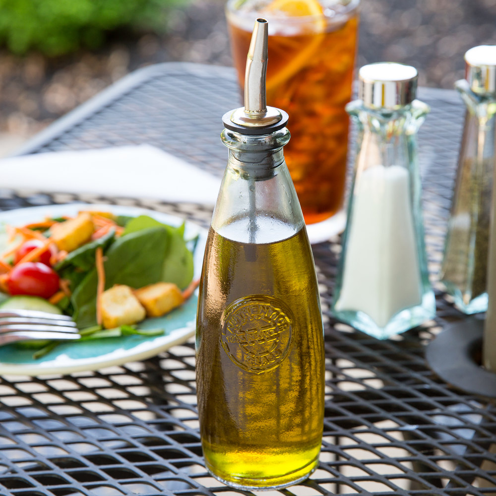 Tablecraft Olive Oil Dispenser Tablecraft 6619 12 Oz. Authentic Collection  Recycled Green Glass Oil .