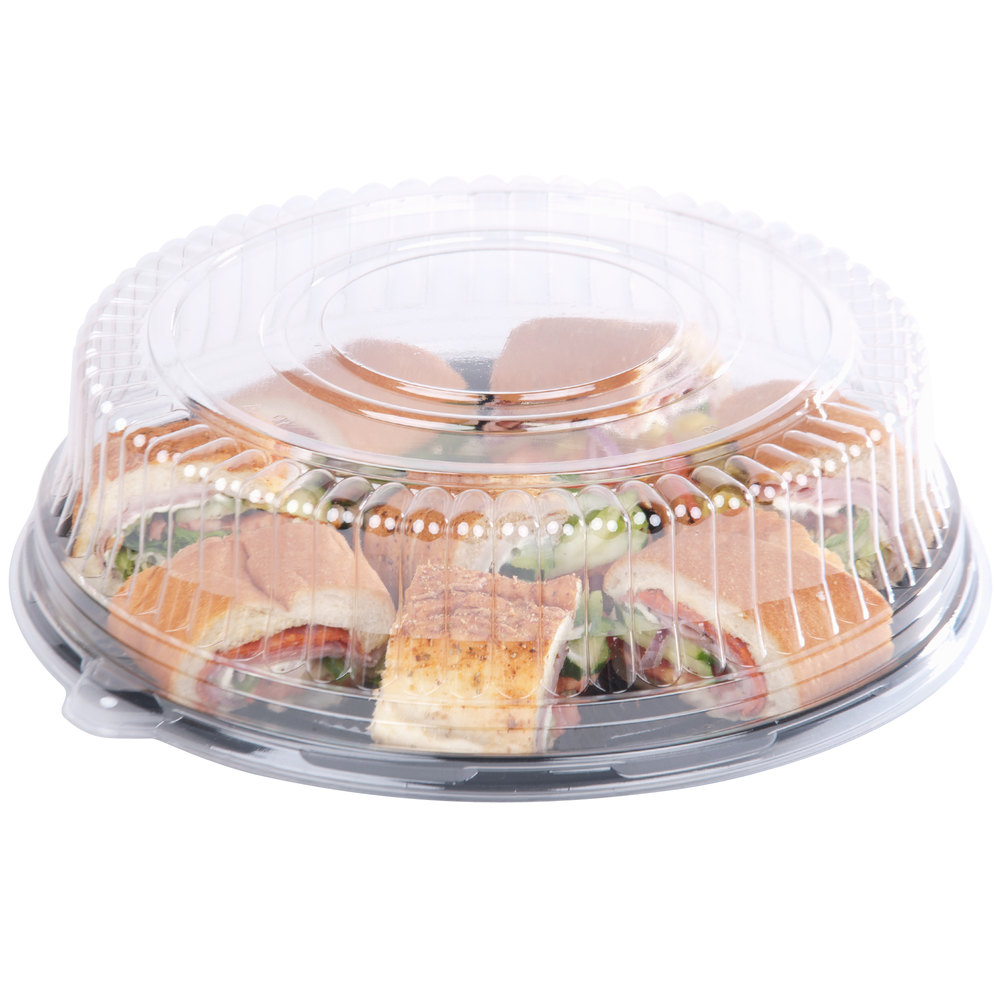 "Sabert 5512 12"" Clear Dome Lid for Round Catering Tray - 6/Pack"