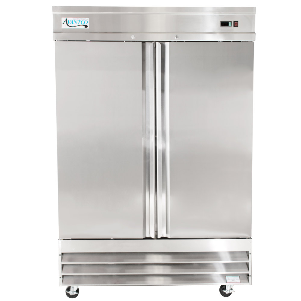 "Avantco CFD-2FF 54"" Two Section Solid Door Reach in Freezer - 46.5 cu. ft."
