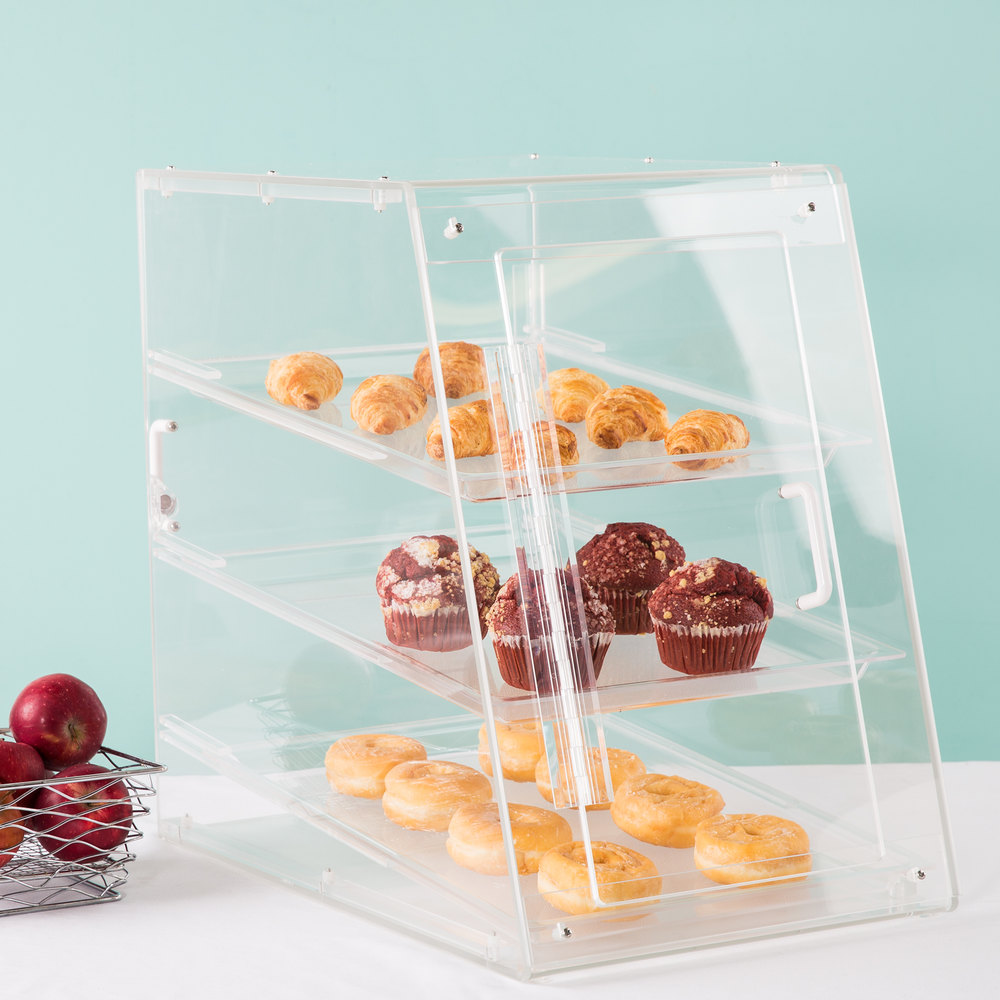 "Cal-Mil 942-S Classic U-Build Three Tier Acrylic Display Case with Front and Rear Doors - 13 1/2"" x 22"" x 21"""