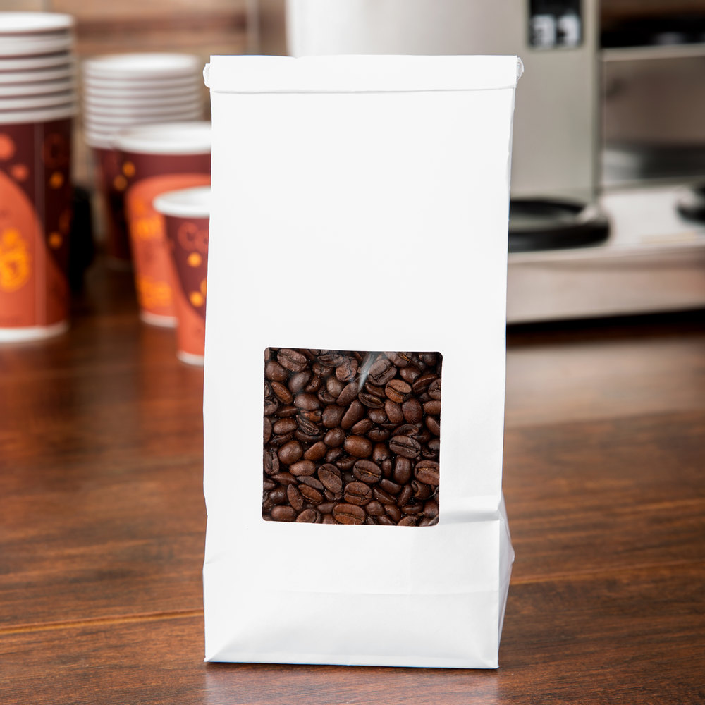 1 lb. White Customizable Tin Tie Coffee Bag with Window - 1000/Case