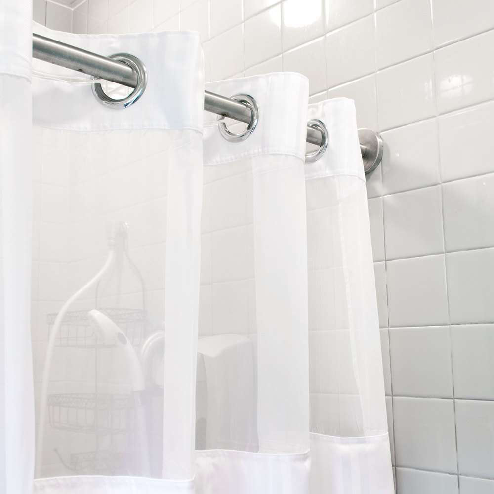 Hookless Hbh53dtb01crx White Double H Shower Curtain With Chrome Raised Flex On Rings It 39 S A