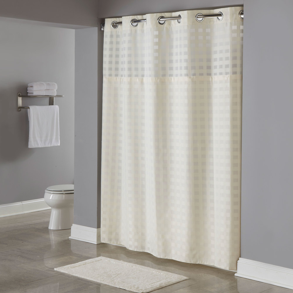 Hookless shower curtain with snap liner - Hookless Hbh65d205x Beige Shimmy Square Shower Curtain With Chrome Raised Flex On Rings It S A Snap Polyester Liner