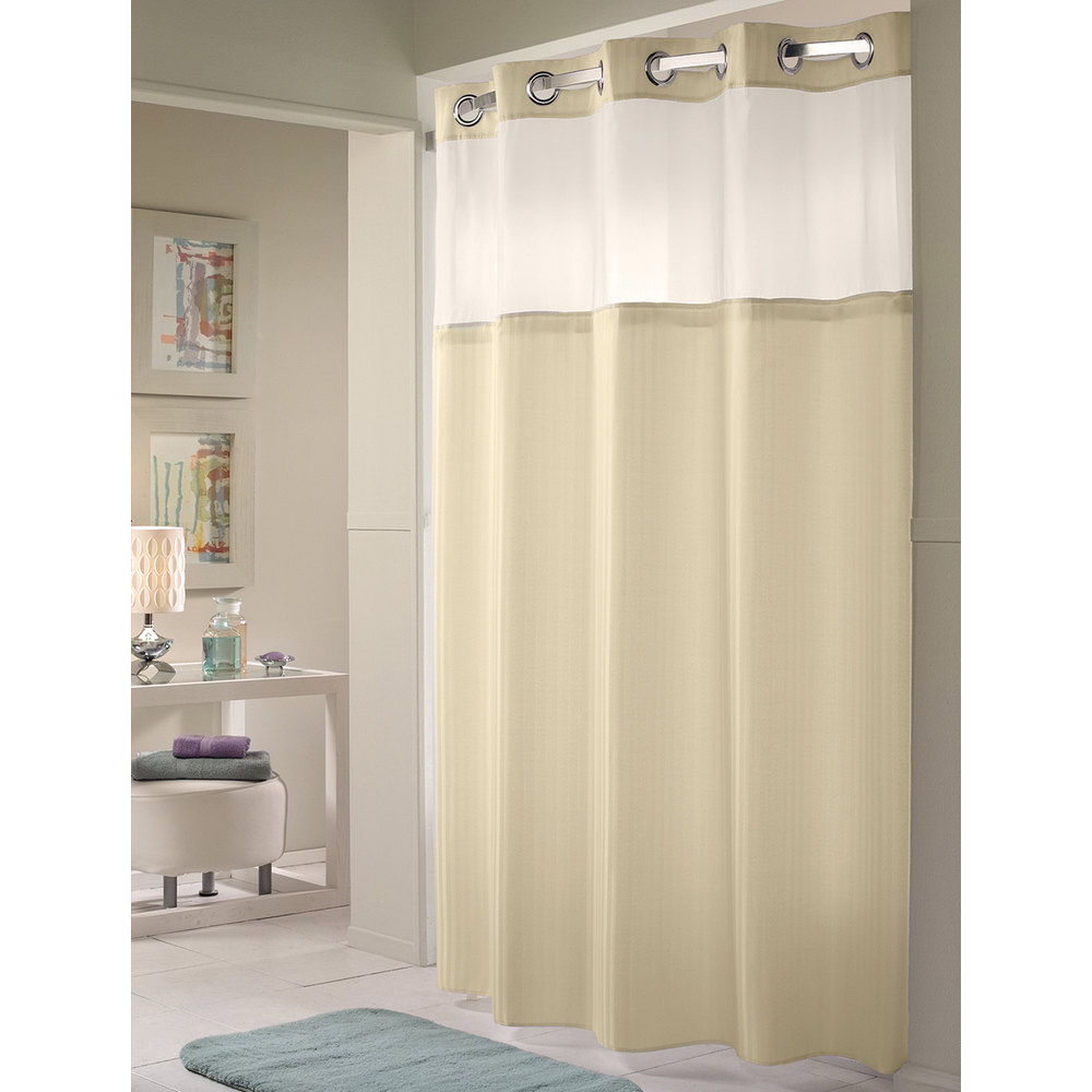 Hookless shower curtain - Hookless Hbh53dtb05cr Beige Double H Shower Curtain With Chrome Raised Flex On Rings It S A Snap