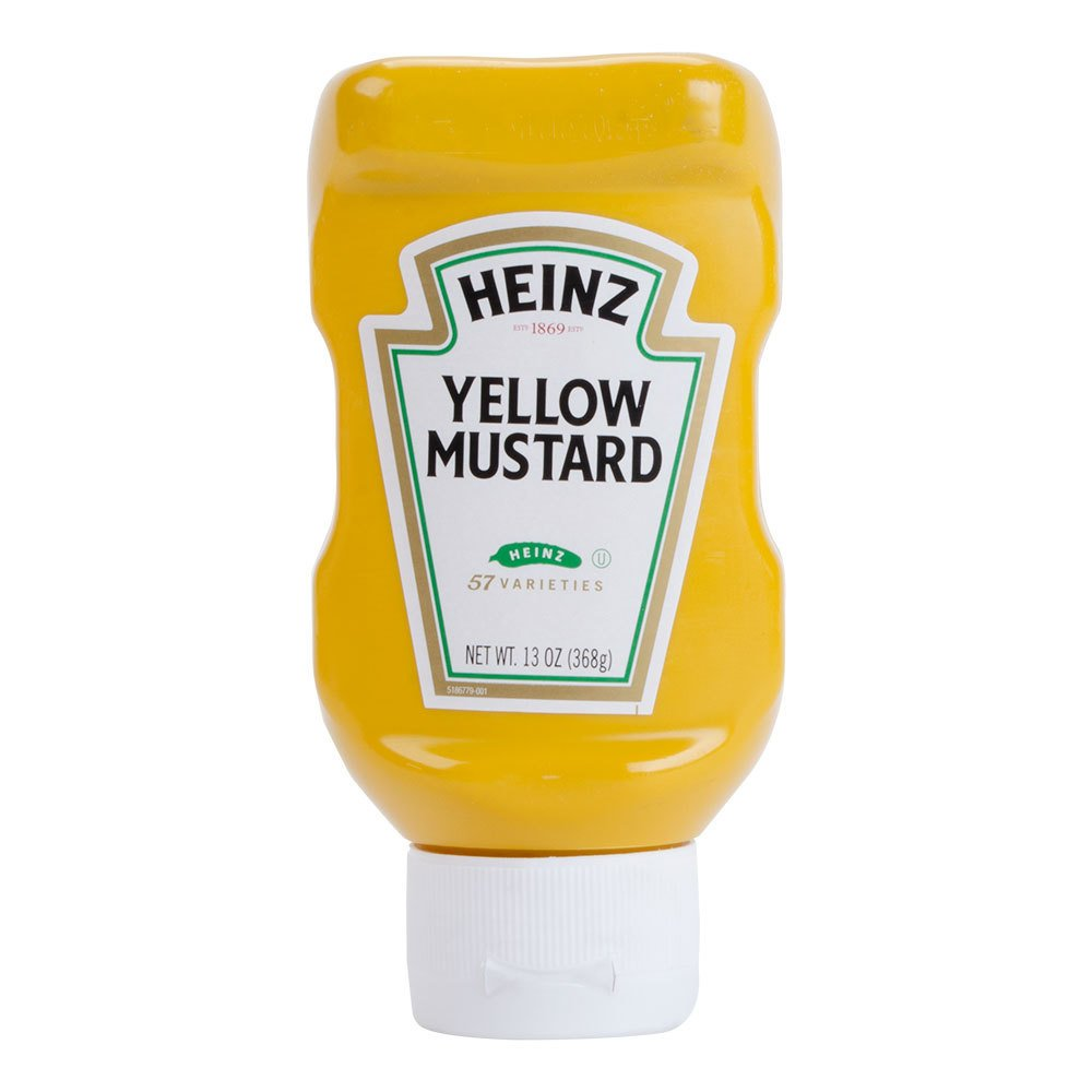 Heinz yellow mustard 13 oz upside down squeeze bottle for Heinz label template