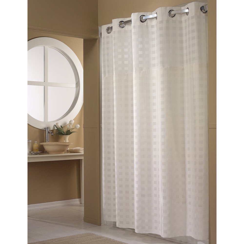 Hookless Hbh65d201x White Shimmy Square Shower Curtain With Chrome Raised Flex On Rings It S A Snap Polyester Liner With Magnets And Poly Voile Translucent Window 71 X 77
